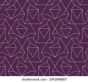 Abstract geometric pattern with crossing thin white lines on violet background. Seamless diamond vector. Stylish fractal texture. Vector pattern to fill the background, laser engraving and cutting.