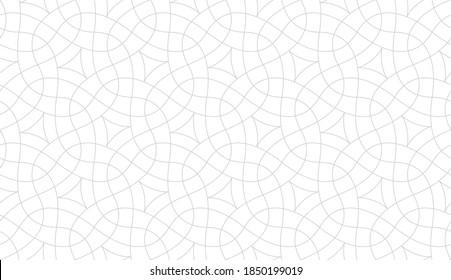 Abstraktes geometrisches Muster mit Kreuzung dünner Linien auf weißem Hintergrund. Nahtloses lineares Design für Textil, Gewebe und Verpackung. Stilvolle, einfarbige Vektorstruktur. Stilvolles Mosaik.
