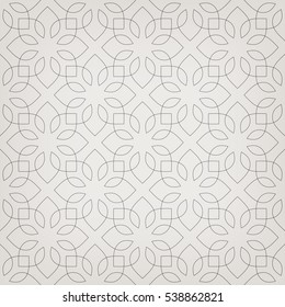 Abstract geometric pattern with crossing thin elegant lines forming abstract floral ornament. Stylish texture in gray color. Seamless linear pattern on gray background.