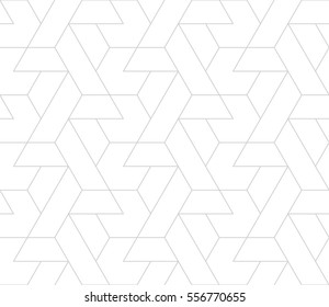 Abstract geometric pattern with crossing thin gray lines on white background. Seamless linear rapport. Stylish vector texture.