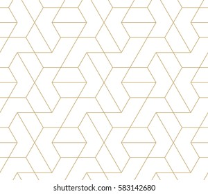 Abstract geometric pattern with crossing thin golden lines on white background. Seamless  linear design. Stylish vector texture.