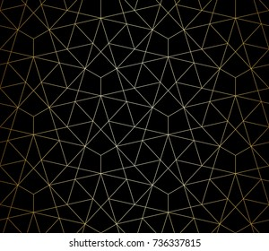 Abstract geometric pattern with crossing thin gray lines on black background. Seamless linear rapport. Stylish fractal texture. Vector rapport to fill the background, laser engraving and cutting.