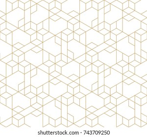 Abstract geometric pattern with crossing thin golden lines on white background. Seamless linear rapport. Stylish fractal texture. Vector pattern to fill the background, laser engraving and cutting.