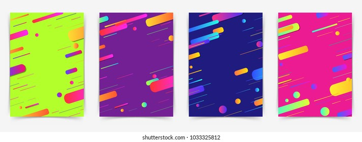 Abstract geometric pattern folder layout collection. Gradient shapes composition. Vector illustration