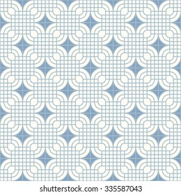 Abstract geometric pattern inspired by floor tiles.  Seamless vector background. Plain colors - easy to recolor.