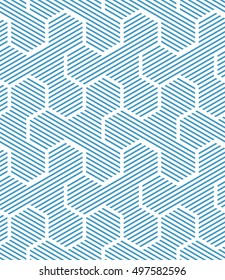 Abstract geometric pattern with lines, hexagons. A seamless vector background. White and blue texture. Graphic modern pattern.