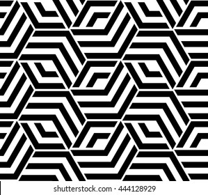 Abstract geometric pattern with lines, rhombuses A seamless background. Black and white texture.