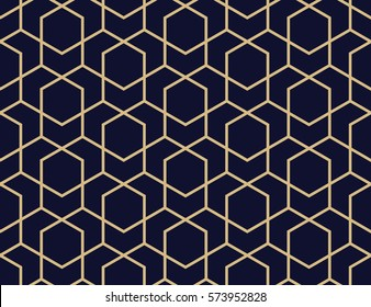 Abstract geometric pattern with lines, rhombuses A seamless vector background. Blue-black and gold texture