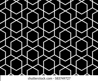 Abstract geometric pattern with lines, rhombuses A seamless vector background. Black and white  texture.