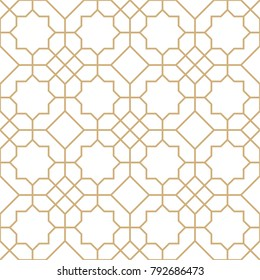 Abstract geometric pattern with lines, rhombuses A seamless vector background. Gold and white texture.