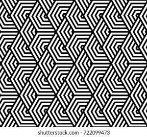 Abstract geometric pattern with lines. A seamless vector background. Black and white texture.