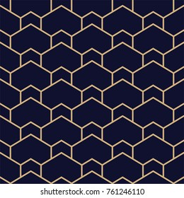 Abstract geometric pattern with lines. A seamless vector background. Blue black and gold texture.