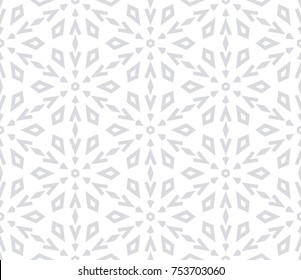 Abstract geometric pattern with lines,  snowflakes. A seamless vector background. Grey and white texture. Graphic modern pattern