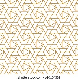 Abstract geometric pattern with lines, stripes.  A seamless vector background. White and gold texture.