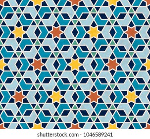 Abstract geometric pattern, marbled stars and hexagonal tiles in Islamic style, textured seamless vector illustration