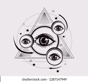 Abstract geometric pattern. Pyramid with all seeing eyes and round, arrows, stars. Stylized emblem for tattoo art, print t shirt. To be used for coloring book pages. Esoteric symbol of God providence.