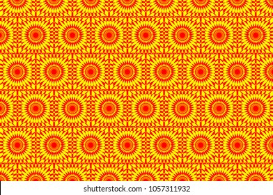 Abstract geometric pattern - red and yellow,  Circular mathematical ornament - tile,