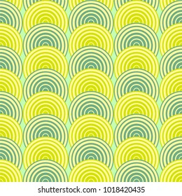 Abstract geometric pattern/ repeat of green waves circles/ retro sixties  background