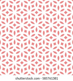 Abstract geometric pattern. Repeating seamless vector background. Pink and white texture. Graphic floral pattern.