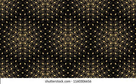 Abstract geometric pattern. Seamless vector background. Black and gold halftone. Graphic modern pattern. Simple lattice graphic design