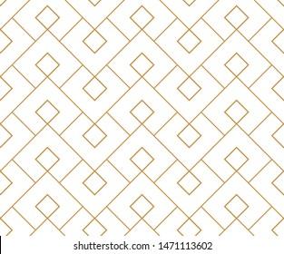 Abstract geometric pattern. A seamless vector background. White and gold ornament. Graphic modern pattern. Simple lattice graphic design