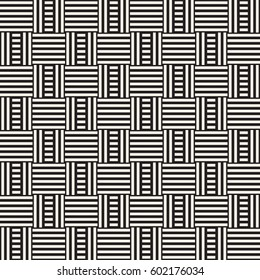 Abstract Geometric Pattern With Stripes Lattice. Seamless Vector Background. Monochrome Stylish Texture.