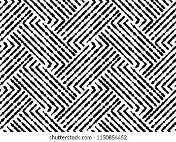 Abstract geometric pattern with stripes, lines. Seamless vector background. White and black ornament. Simple lattice graphic design