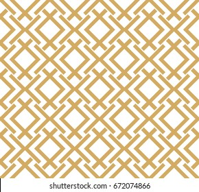 Abstract geometric pattern with stripes, lines. A seamless vector background. Gold and white texture.