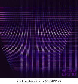 Abstract Geometric Pattern with Stripes. Wicker Structural Texture. Violet Optical Illusion. Digital Technology Background. Vector. 3D Illustration