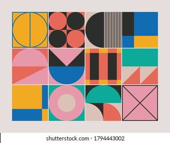 Abstract geometric pattern texture inspired by Bauhaus design style. Modern linear geometry composition artwork with simple vector shapes and basic forms, great for poster design and web presentation.
