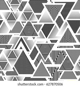 Abstract Geometric pattern with Triangles in geometry lines form. Seamless texture in black and white, can be used for background.Vector Illustration.