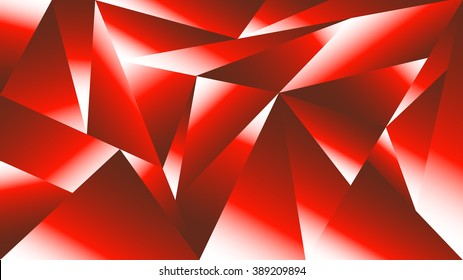 Abstract geometric pattern of triangles in highlights of red and white. Geological structure effect - crystals. 16:9 HD aspect ratio.  Desktop wallpapers, screen savers,  digital backgrounds.