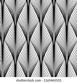 Abstract geometric pattern with wavy lines. Seamless background. Monochrome ornament. Vector illustration