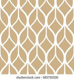 Abstract geometric pattern with wavy lines, stripes. A seamless vector background. Beige and white ornament.