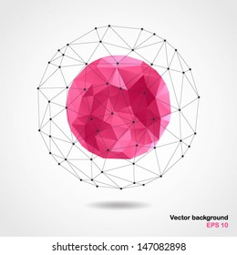 Abstract geometric pink spherical shape from triangular faces for graphic design.Vector illustration EPS10.
