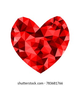 Abstract geometric Polygon heart valentine background Colorful mosaic pattern.Vector illustration