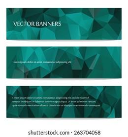 Abstract geometric polygonal banners set. Triangular emerald banner set