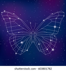 Abstract geometric polygonal cosmic butterfly vecto illustration