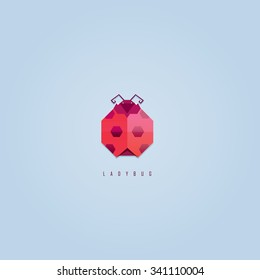 Abstract geometric polygonal red ladybug logo icon design
