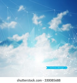 Abstract Geometric Polygonal Shape. Futuristic Technology Vector Science Background. Connecting Dots and Lines Structure. Clouds Heavens illustration