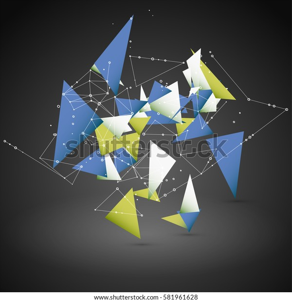 Abstract Geometric Polygonal Shape. Futuristic Technology Vector Science Background. Connecting Dots and Lines Structure.