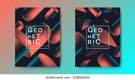 abstract geometric  posters set with flying 3d pyramids and cylindrical shapes on dark background