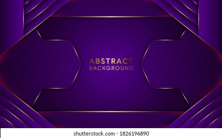 Abstract geometric purple background design template. Horizontal layout use hexagon pattern. gold curve element.