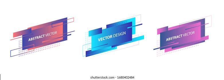 Abstract geometric rectangle shapes set. Fluid gradient design for banner, card, brochure. Vector illustration.