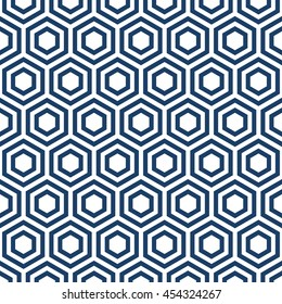 Abstract geometric repeatable blue and white hexagon seamless pattern design background editable vector file. Polygonal linear grid from striped elements.