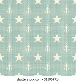 abstract geometric retro seamless pattern with anchors and stars
