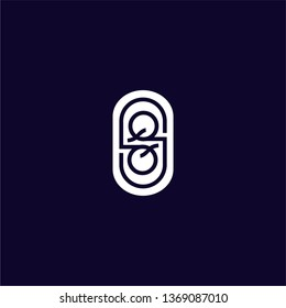 abstract geometric rounded circle QQ logo letters design concept
