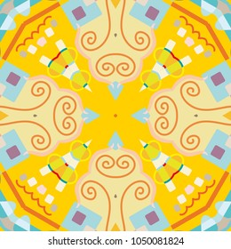 Abstract geometric seamless pattern, artistic composition. Colorful design for wallpaper, flyer, brochure cover. Colored geometric shapes, figures. Modern art background
