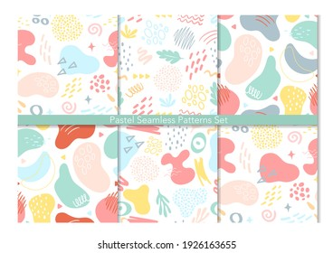 Abstract geometric seamless pattern background vector illustration set. Contemporary modern trendy various shapes lines spots drops, abstraction for beauty branding design, social media story template