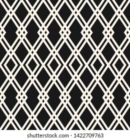 Abstract geometric seamless pattern. Black and white vector background. Simple ornament with rhombuses, diamond shapes, mesh, grid. Elegant monochrome graphic texture. Repeat design for decor, fabric